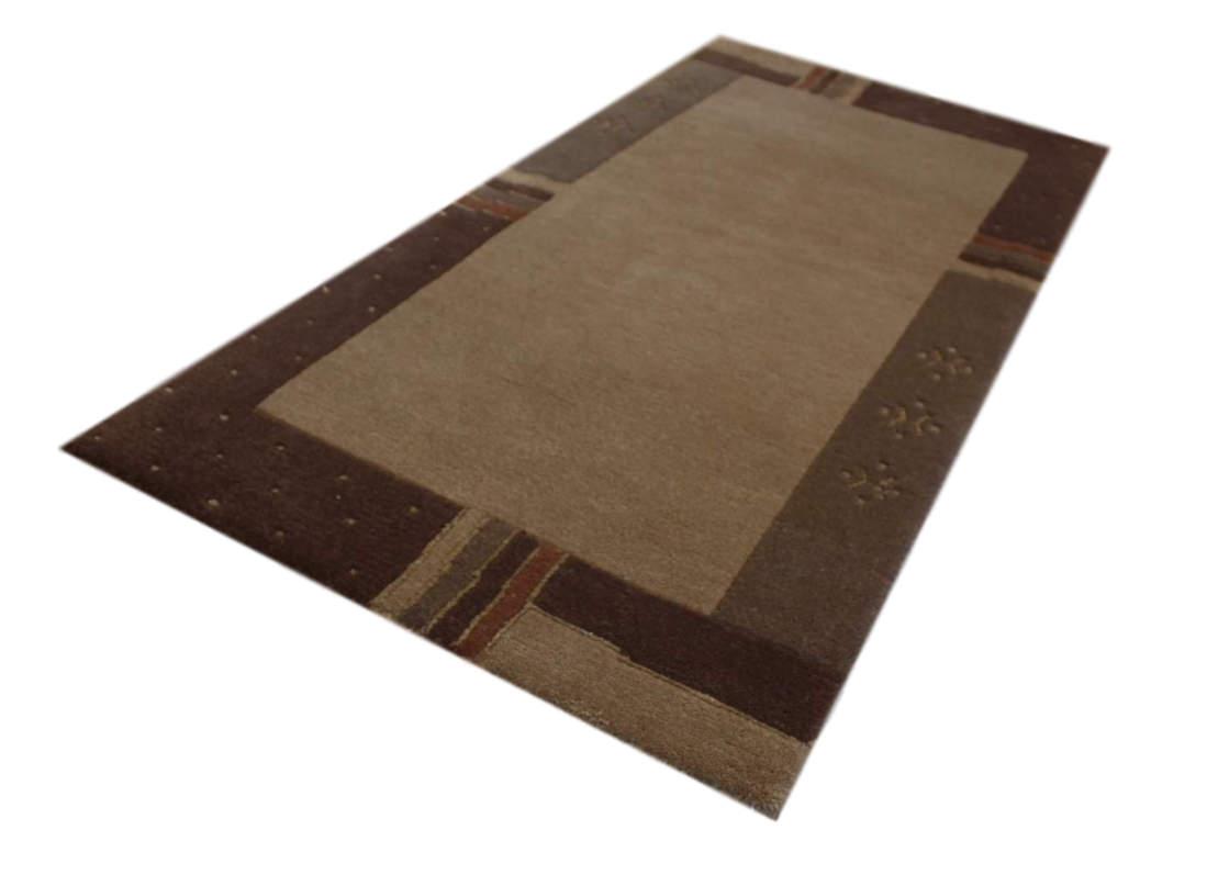 tapis nepal pont 70x140 cm 100  laine avec soie marron