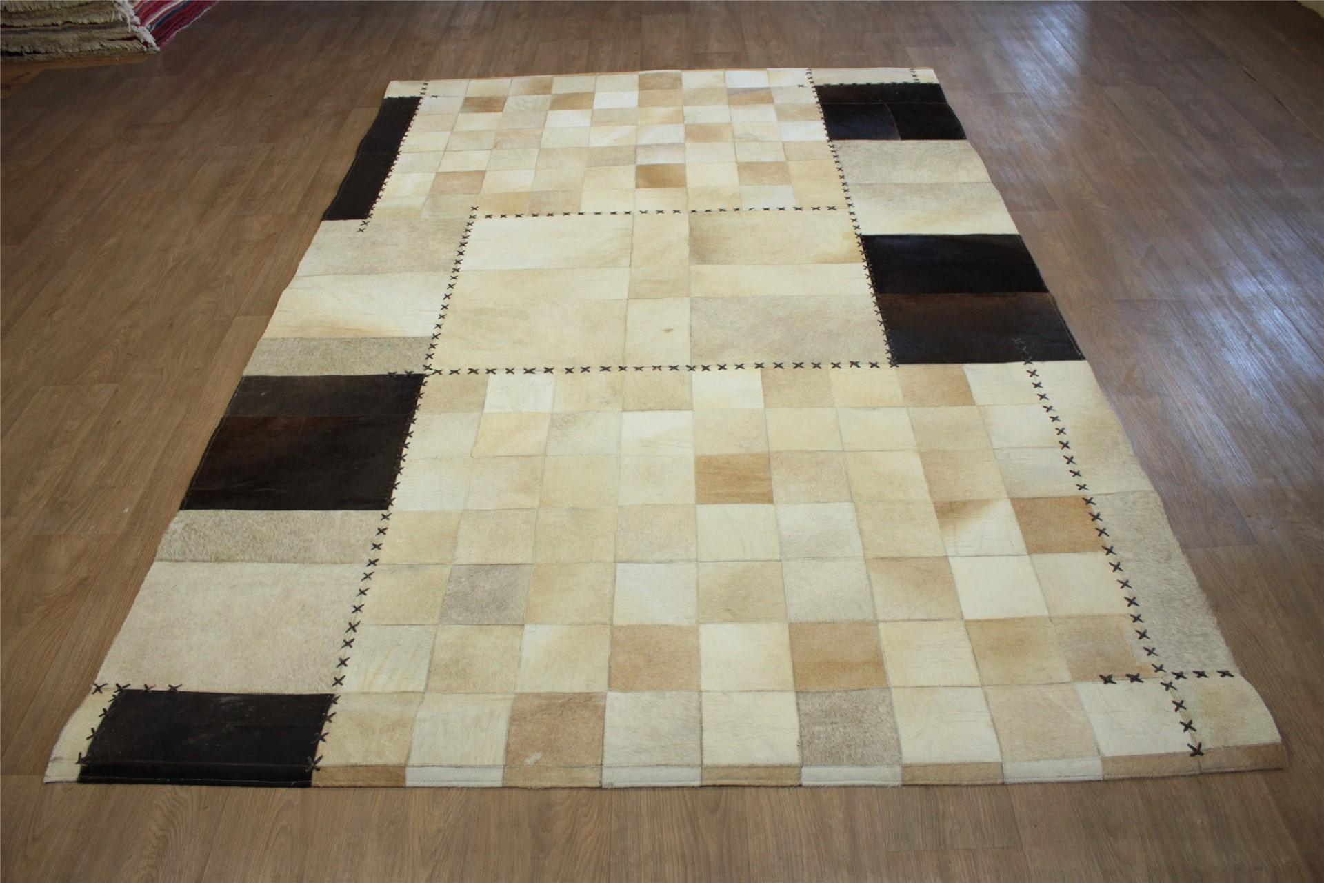 teppich echt leder patchwork 190x290 cm cowhide kuhfell braun beige ebay. Black Bedroom Furniture Sets. Home Design Ideas