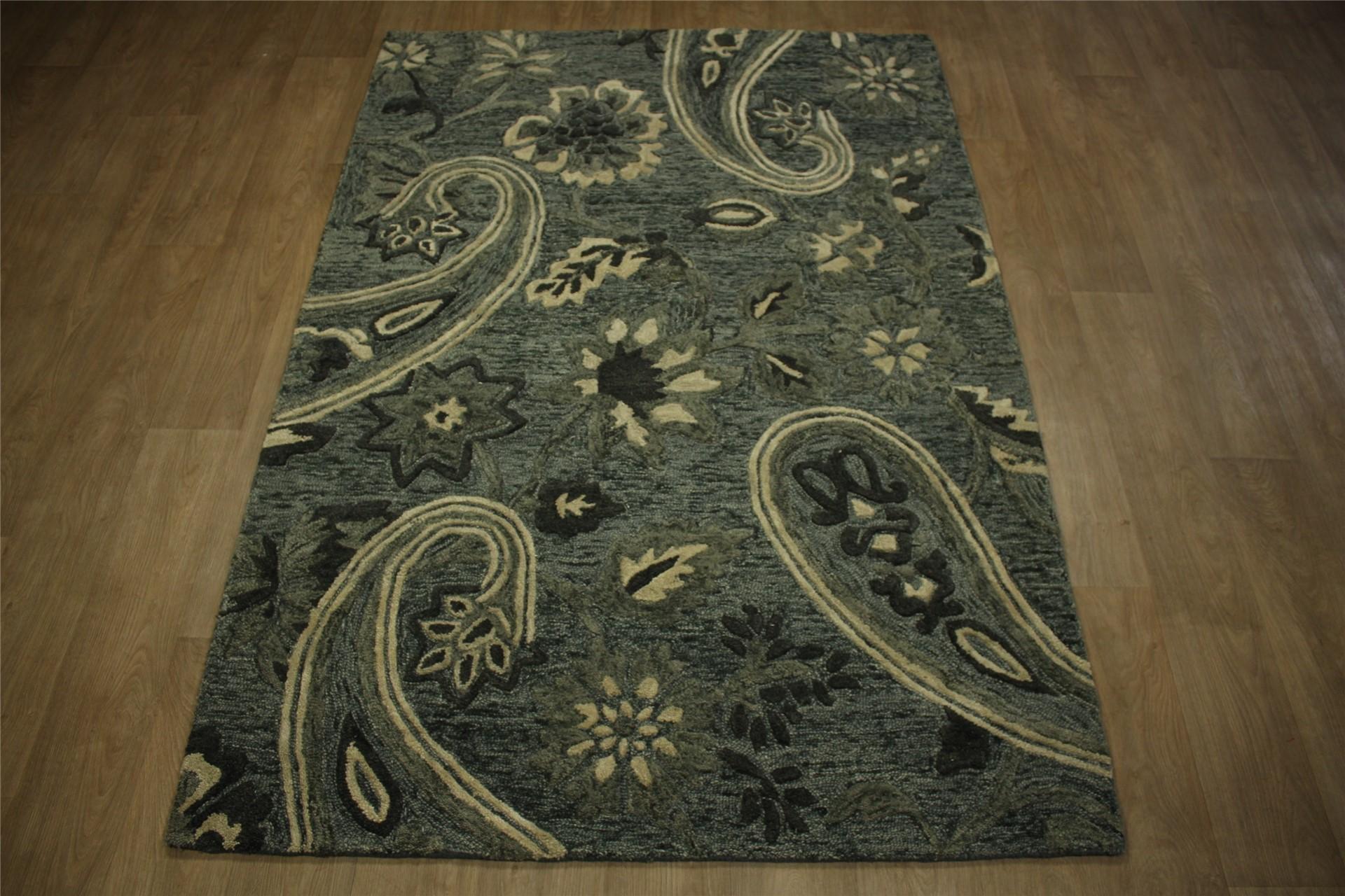 Teppich Schurwolle 160x230 Cm 100 Wolle Handgetuftet Grun Grau